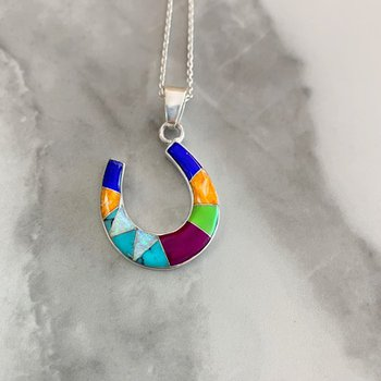 Multicolored Horseshoe Pendant