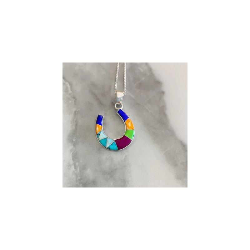 Arizona Turquoise and Inlaid Jewelry Multicolored Horseshoe Pendant