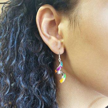 Multicolored Spiral Earrings