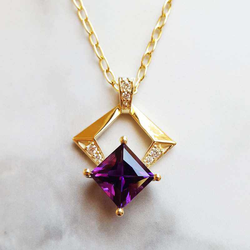 Arizona Amethyst™ Gold Jewelry Geometric Necklace