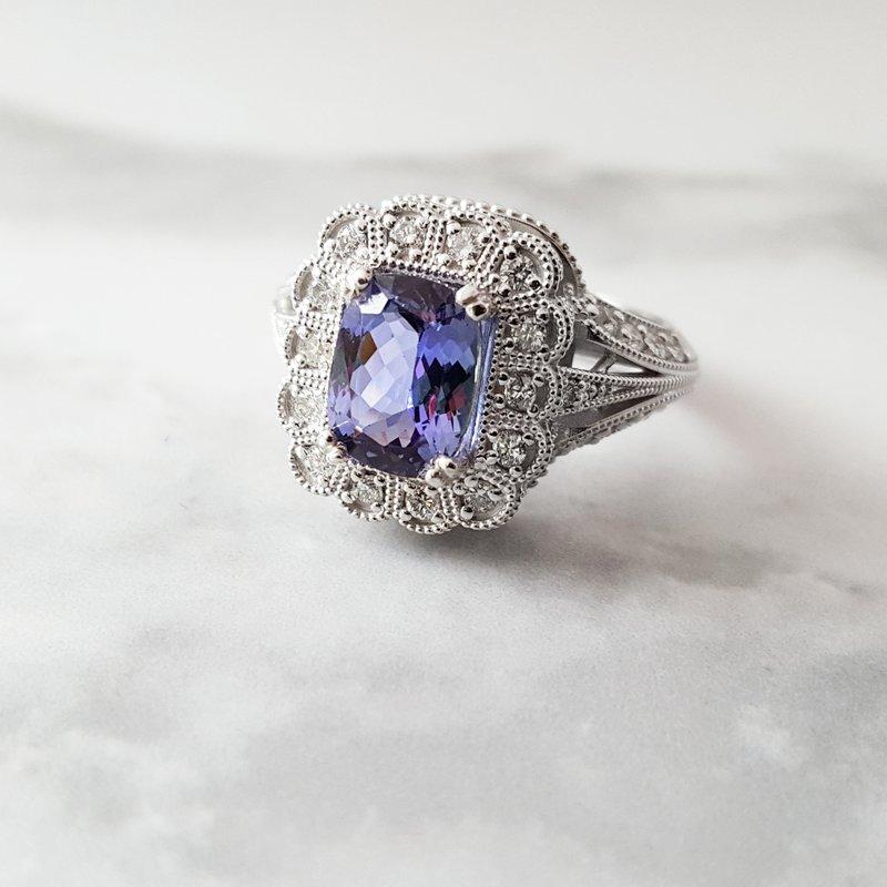Luxury by Rene Hernandez Royal Tanzanite Filigree Ring