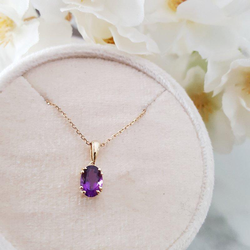 Arizona Amethyst™ Gold Jewelry Oval Classic Pendant