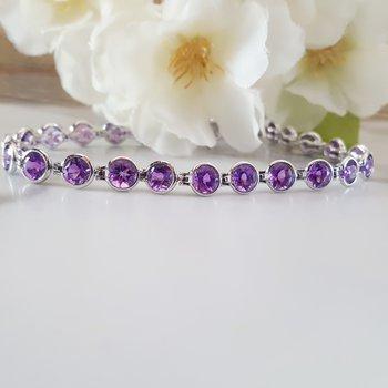 Amethyst Stone Bezel Set Sleek Bracelet
