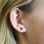 Arizona Amethyst™ Silver Jewelry Arizona Amethyst and Peridot Studs