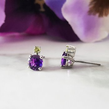 Arizona Amethyst and Peridot Studs