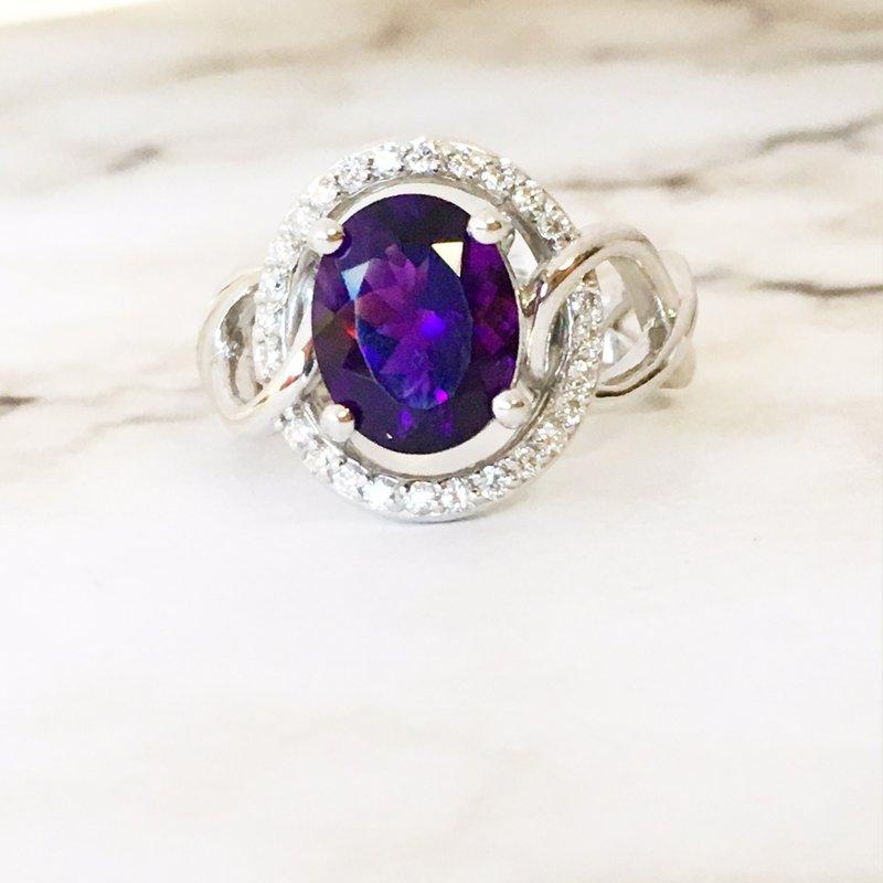 Arizona Amethyst™ Gold Jewelry Open Halo Ring