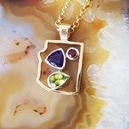 Arizona Amethyst™ Gold Jewelry Two Tone Arizona State Pendant