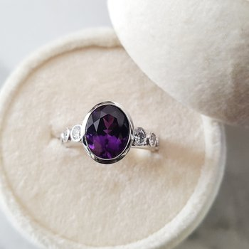 Amethyst Diamond Accented Ring