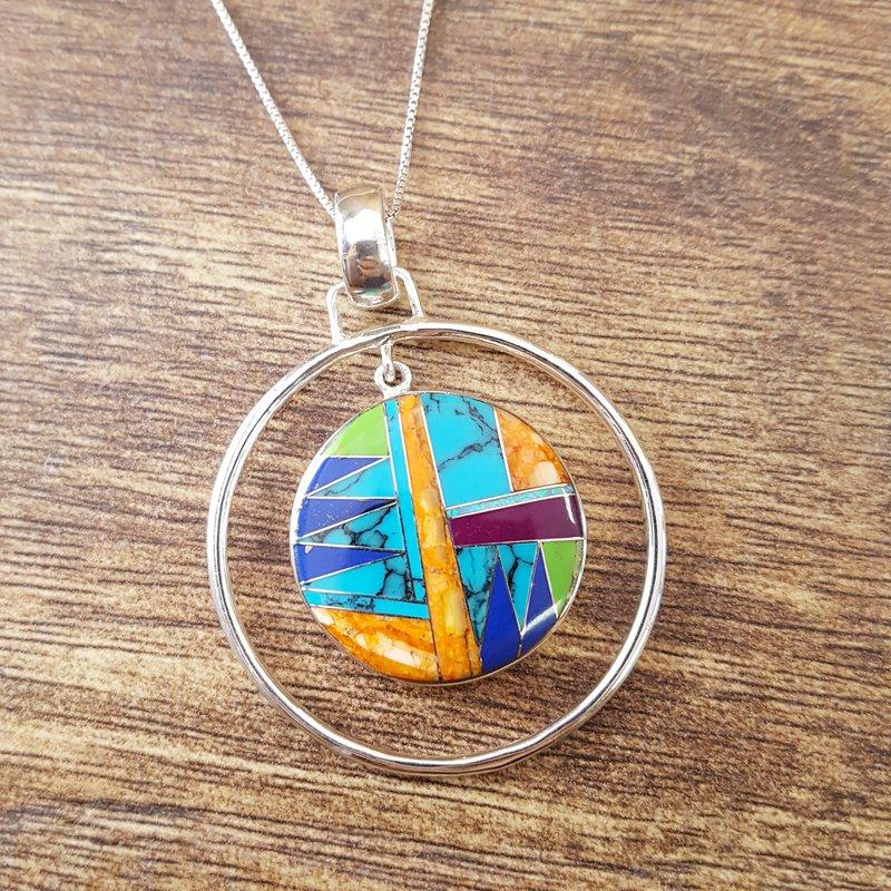 Arizona Turquoise and Inlaid Jewelry Multicolored Double Circle Pendant