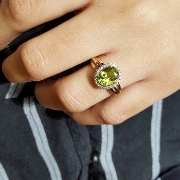 Oval Peridot Ring with Diamond Halo
