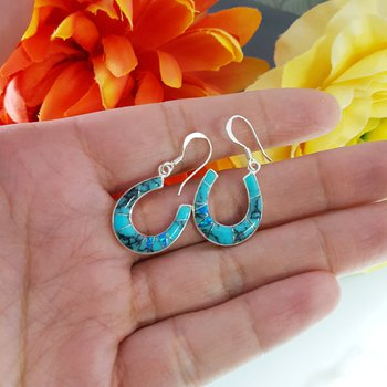 Turquoise Horseshoe Dangle Earrings