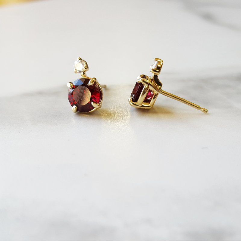 Arizona Anthill Garnet Gold Jewelry Accented Stud Earrings