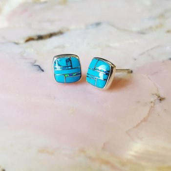 Rounded Square Arizona Turquoise Studs