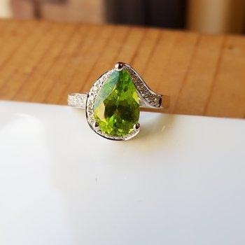 Pear Cut Peridot Ring