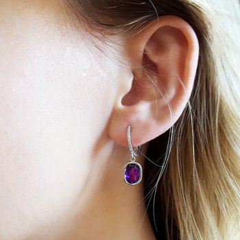 Diamond Dangle Amethyst Earrings