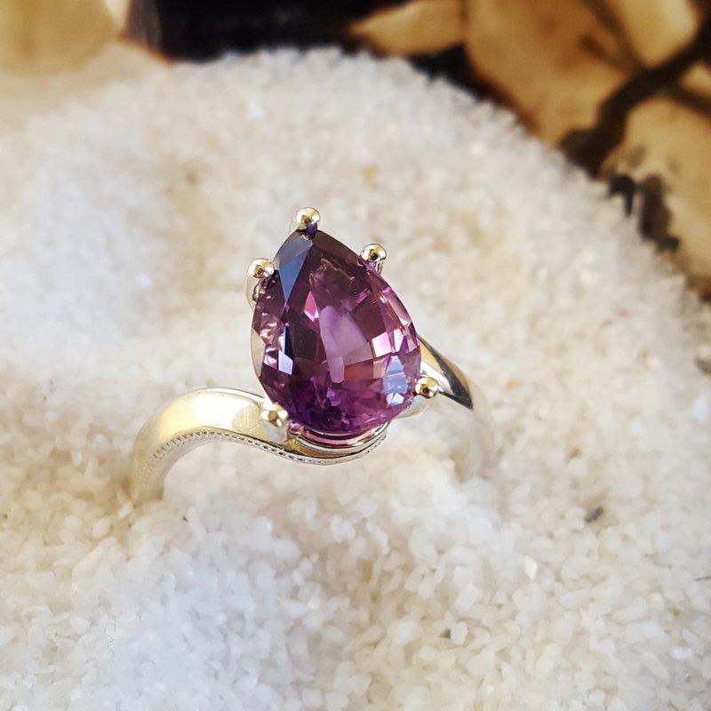 Arizona Amethyst™ Silver Jewelry Pear Cut Arizona Amethyst Ring