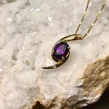 Amethyst Oval Bypass Pendant