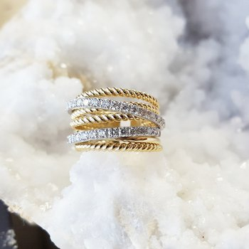 Rope Layered Diamond Ring