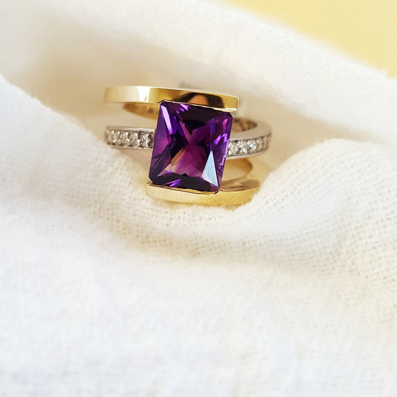 Arizona Amethyst™ Gold Jewelry Two Tone Radiant Ring