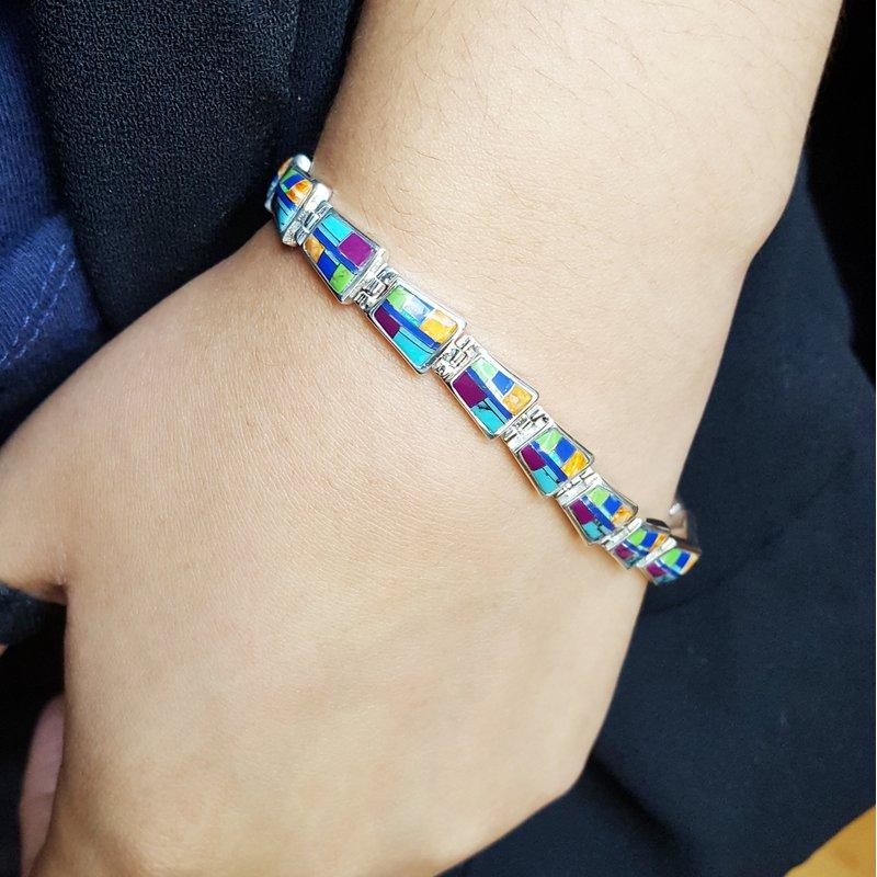 Arizona Turquoise and Inlaid Jewelry Geometric Multicolor Bracelet
