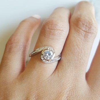 White Swirl Engagement Ring