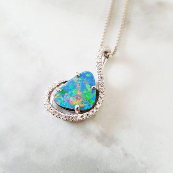 Blue Opal Free-Form Pendant
