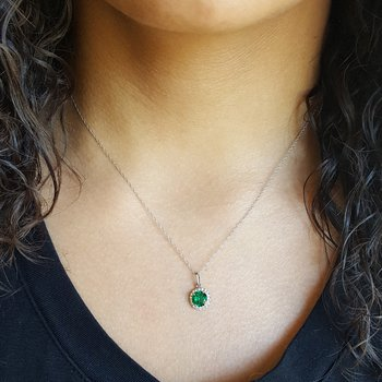 Emerald Halo Birthstone Pendant