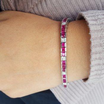 Ruby and Diamond Line Bracelet