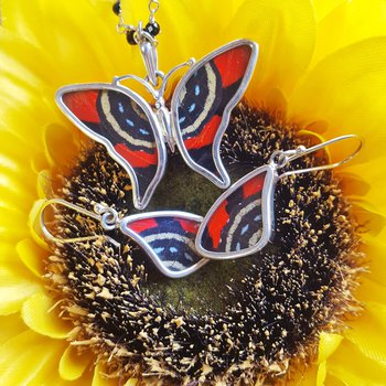Tiger Butterfly Pendant and Earring Set