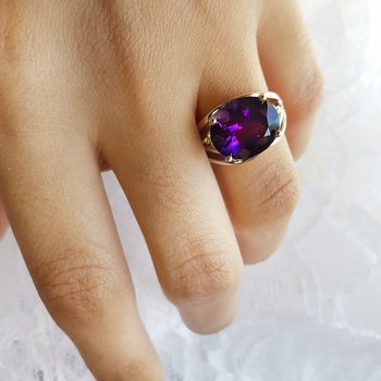 Bold Oval Amethyst Ring