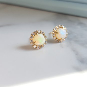 Opal Halo Earrings
