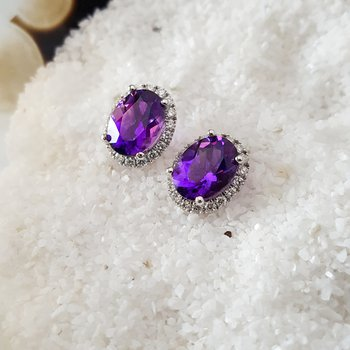 Oval Cut Amethyst Diamond Halo Studs