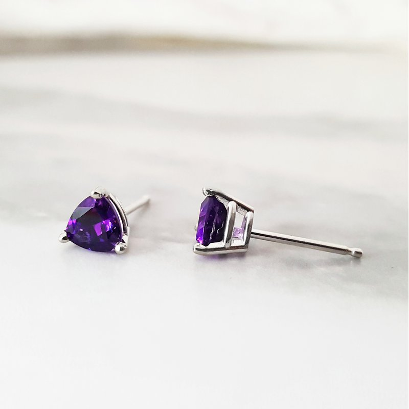 Arizona Amethyst™ Gold Jewelry Essential 1CT Trillion Studs