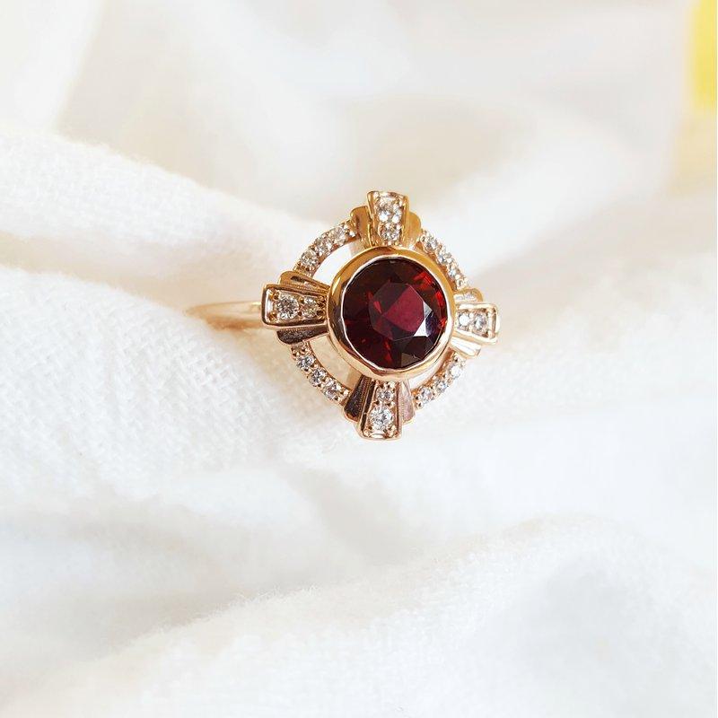 Arizona Anthill Garnet Gold Jewelry Compass Garnet Ring