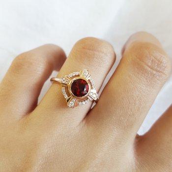 Compass Garnet Ring