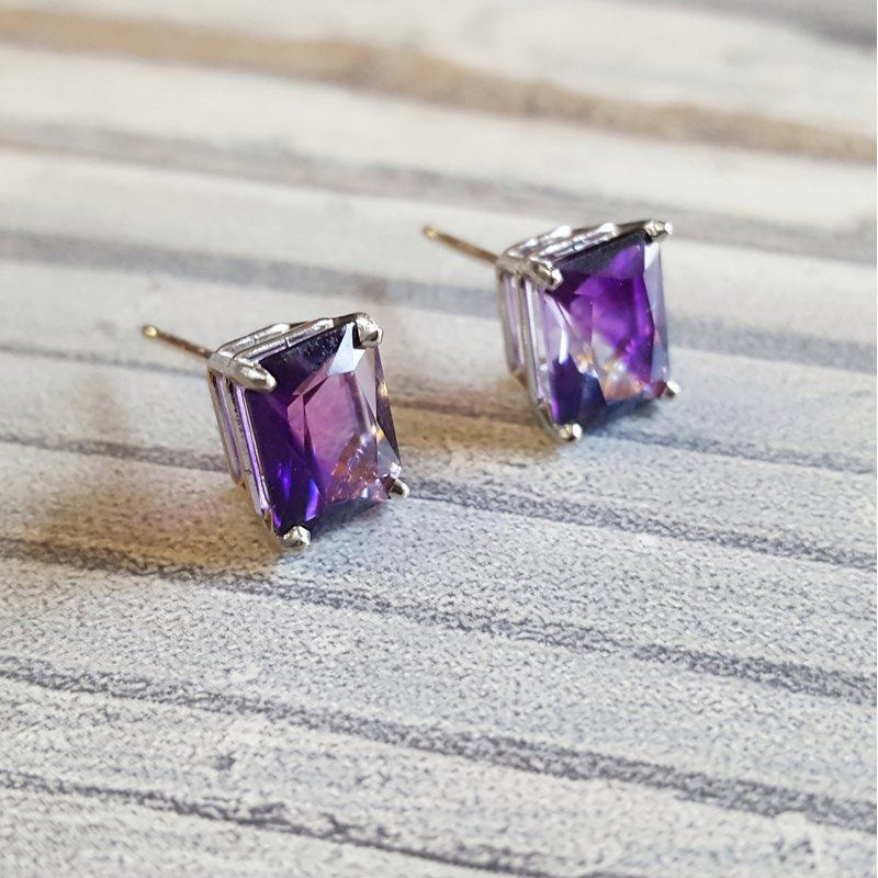 Arizona Amethyst™ Gold Jewelry Essential 2 1/2CT Radiant Cut Earrings