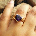 Arizona Amethyst™ Gold Jewelry Trillion Cut Amethyst Ring