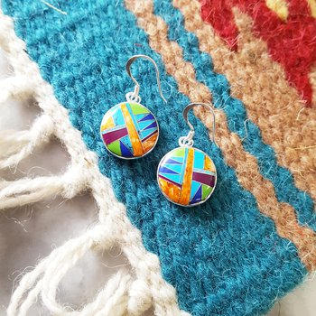Multicolored Round Dangle Earrings