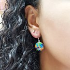 Arizona Turquoise and Inlaid Jewelry Multicolored Round Dangle Earrings