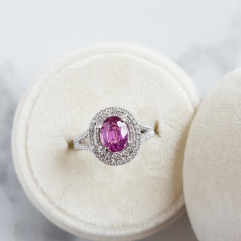 3-Tier Pink Sapphire Halo Ring