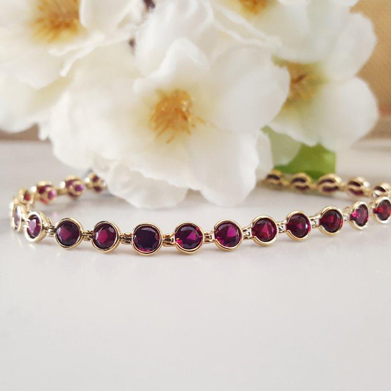 Arizona Anthill Garnet Gold Jewelry Arizona Garnet Bezel Bracelet