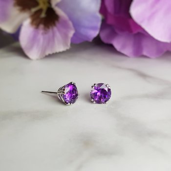 Amethyst Double Prong Studs