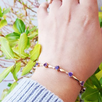 Amethyst Trillion Bracelet