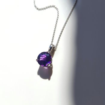 Solitaire Amethyst Necklace