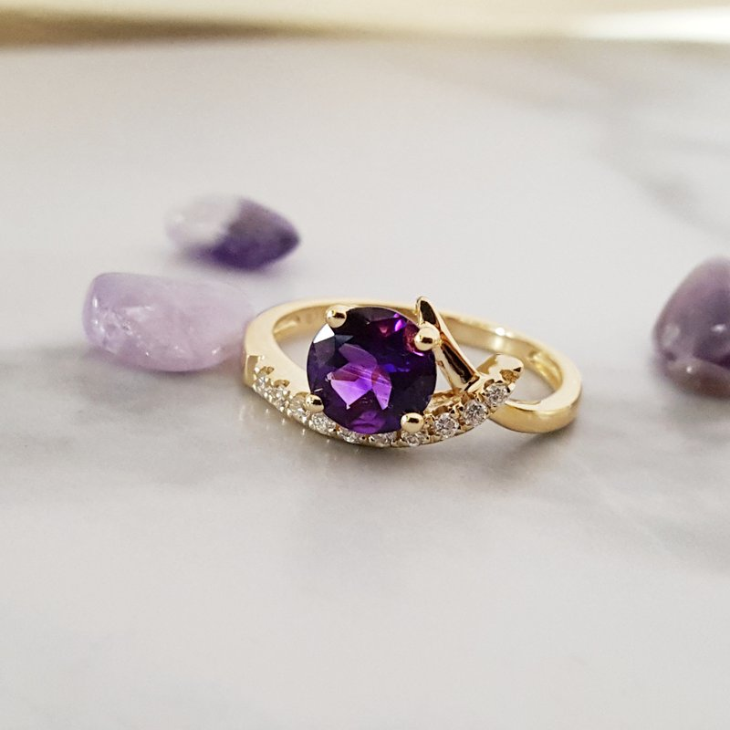 Arizona Amethyst™ Gold Jewelry Swooping Caress Ring