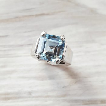 Big & Bold Aquamarine Asscher Cut Ring
