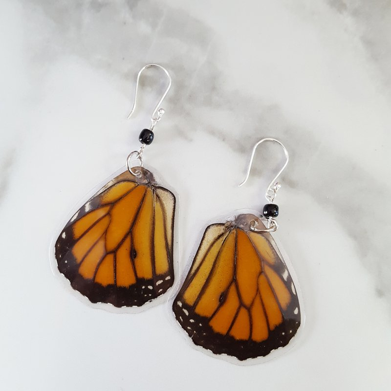 Monarch Butterfly Wing Sterling Silver Circle Bracelet One-of-a-Kind
