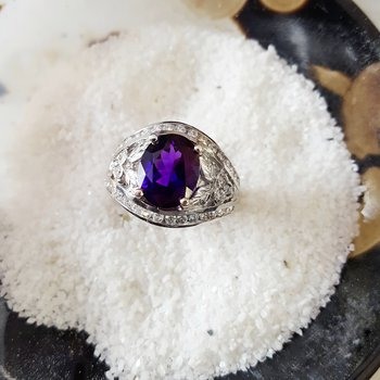 Elegant Floral Arizona Amethyst Ring