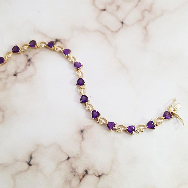 Arizona Amethyst™ Gold Jewelry Trillion Swirl Bracelet