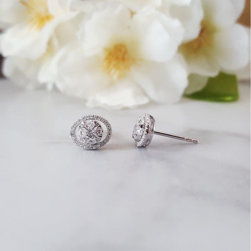 Sami Fine Jewelry Geometric Oval Diamond Earrings